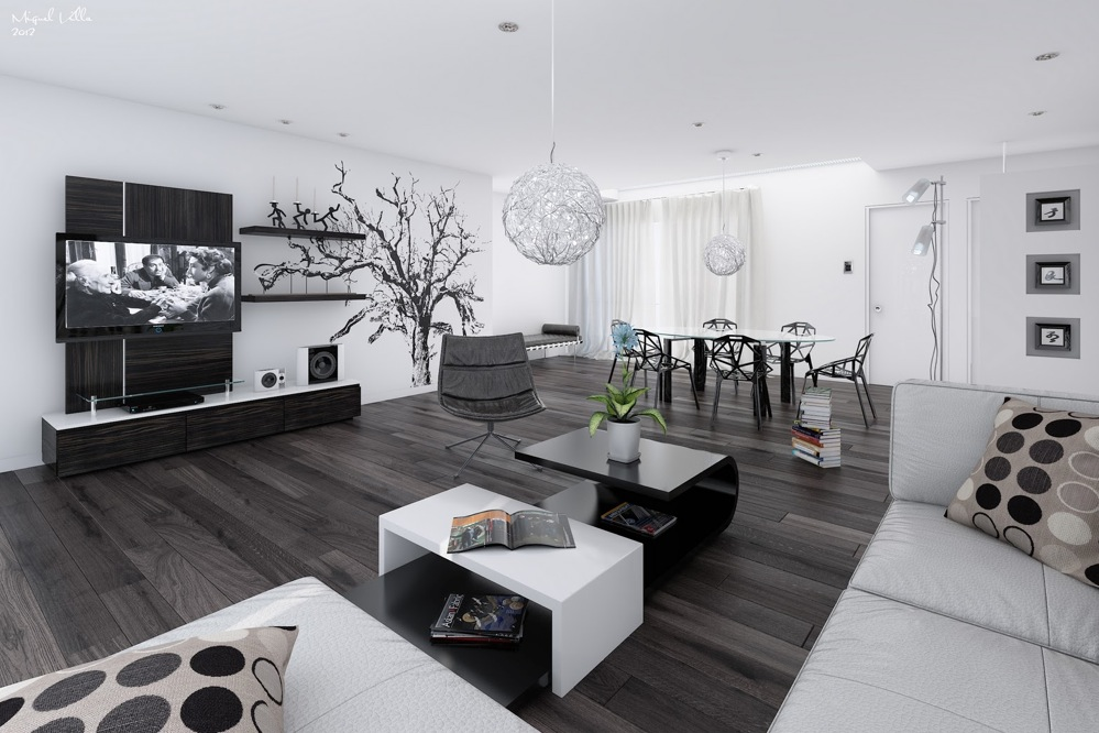 modern black and white living room ideas sky blue curtains interior design pictures dining