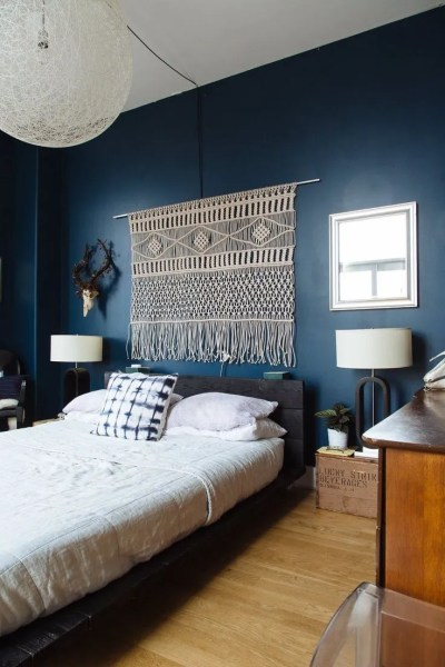 dark bedroom wall idea Navy & Dark Blue Bedroom Design Ideas & Pictures