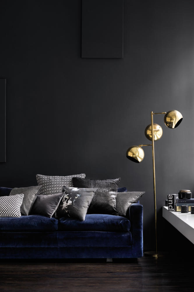 Dark Wall living room furniture With Velvet Sofa and beautiful Pillow