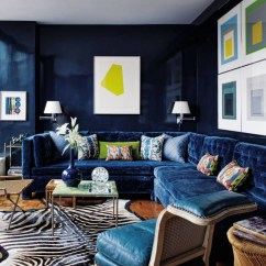 Navy Blue And Black Living Room Ideas Tv Cabinet For Small 21 Different Style To Decorate Home With Velvet Sofa Contemporary Todd Alexander Romano New York