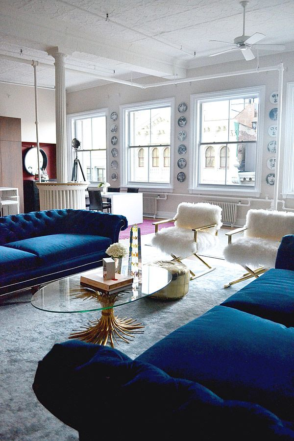 sofa blue color living room modern designs 21 different style to decorate home with velvet fuzzy chairs sofas windows