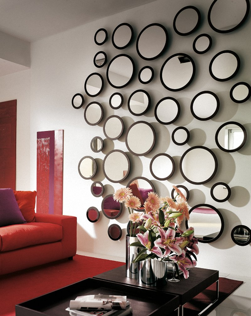 mirror for living room wall royal blue furniture 21 ideas home decorating with mirrors bubble unique decor
