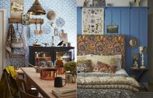 Bohemian Style Interior Design with Vintage Blue Wallpaper