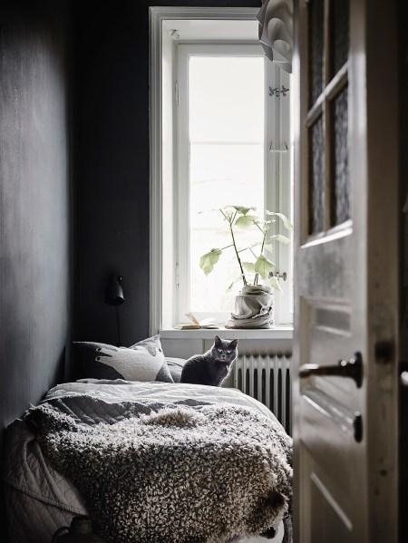 dark bedroom wall idea White, Modern & Vintage Swedish Apartment Look Amazing