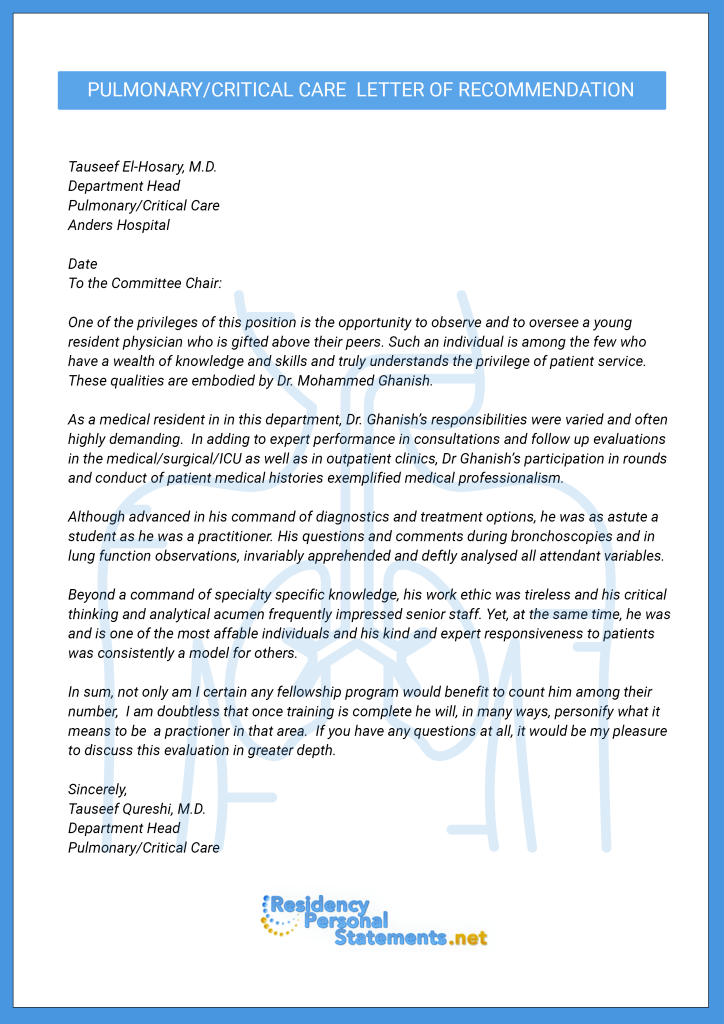recommendation letter for postgraduate