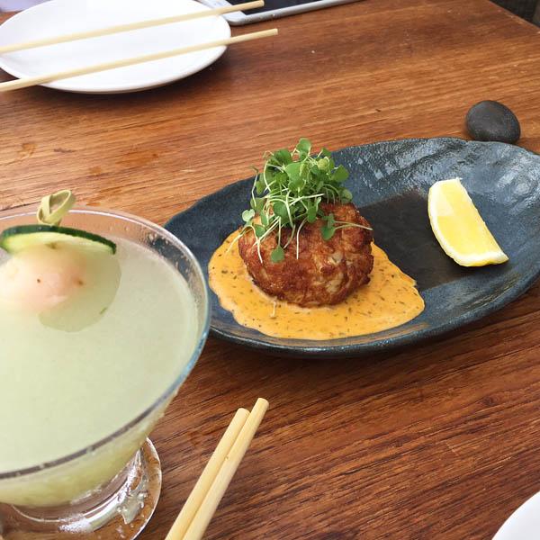 Crab in uni bernaise sauce for brunch at Nobu Malibu
