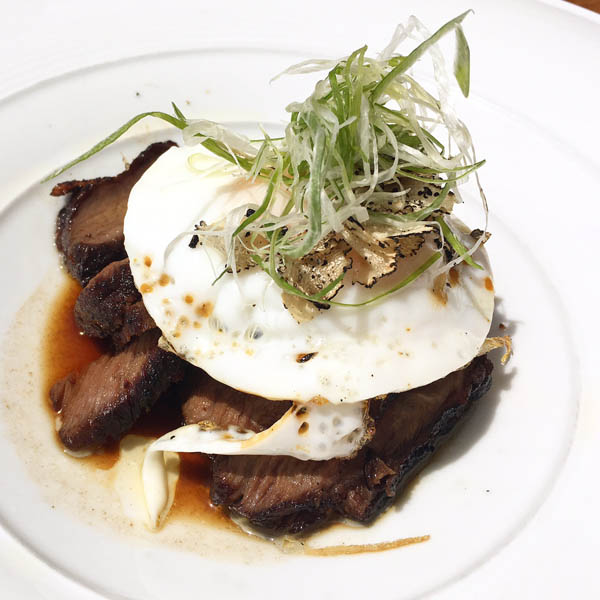 Steak and eggs sous vide at Nobu Malibu brunch menu now offered