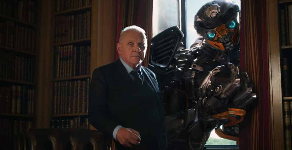 Left to right: Sir Anthony Hopkins as Sir Edmound Burton and Hot Rod in Transformers: The Last Knight