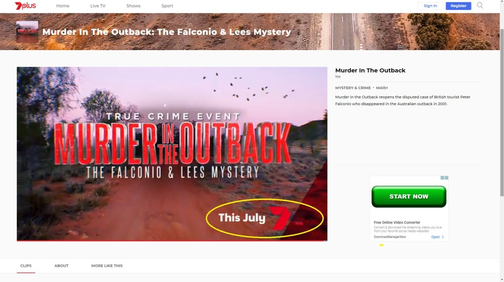 Murder In The Outback Channel 7 Release Date
