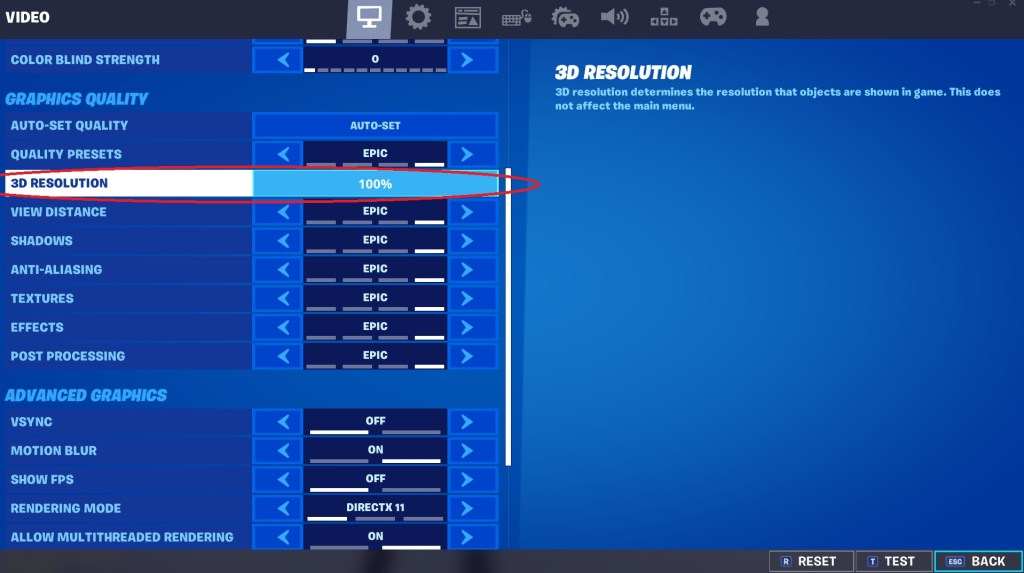 How To Fix Blurry Graphics In Fortnite - Step 1: Check your 3D resolution settings