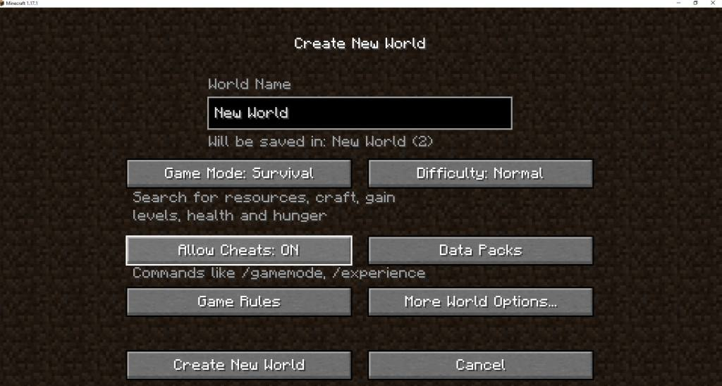 """Step 1 - Start a new game and make sure you select """"Allow cheats ON"""""""