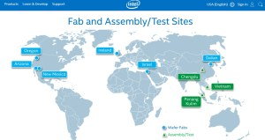 Figure 2. Screenshot of Intel factories. Note those in green are where assembly occurs.