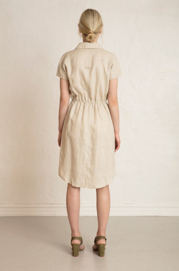 Wood Linen Dress in Sand Stone from the back