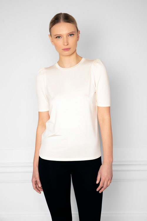 Tu Puff Sleeve Top Shell from the front