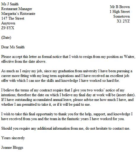 Resignation Letter Example For A Waiter - Waitress - Resignation