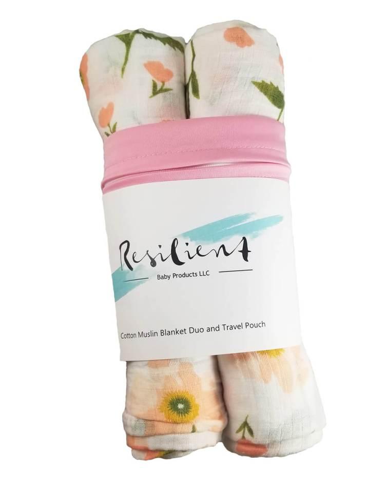 Pink swaddle blanket travel pack