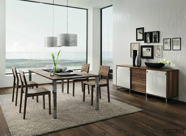 Dark-walnut-white-dining-furniture