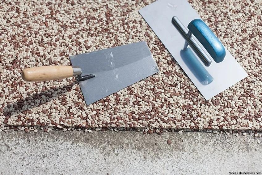 laying a stone carpet epoxy stone