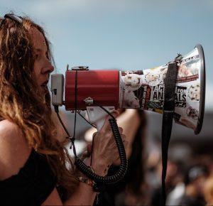 bullhorn rally woman