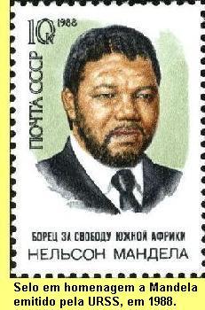 Selo em homenagem a Mandela emitido pela União Soviética.