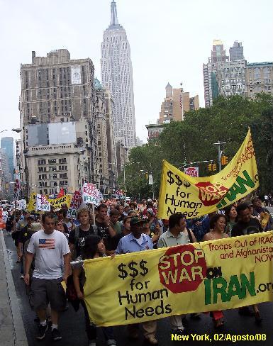 Cabeça da manifestação em Nova York.
