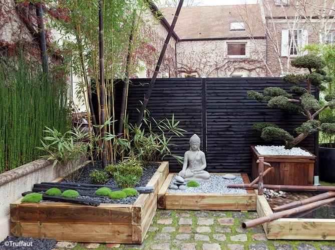 un jardin zen en rouge et noir elle