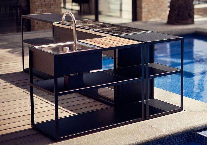 outdoor kitchen modules black glass cabinet doors cuisine extérieure : 15 modèles pratiques et esthétiques ...