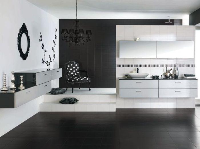La Salle De Bains S'habille En Noir Et Blanc  Elle Décoration