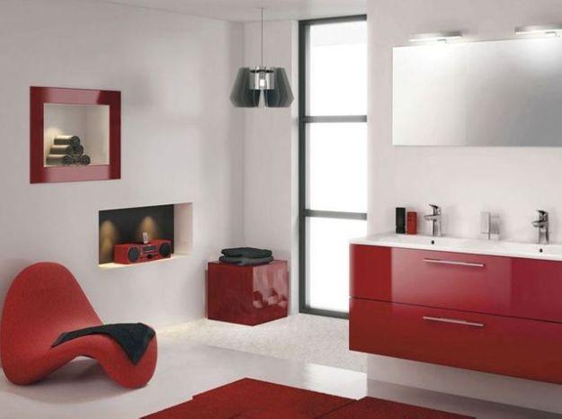 Salle de bains rouge delpha espace aubade