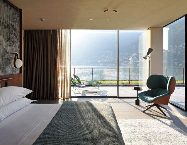 La chambre de l'hôtel Il Sereno à Torno