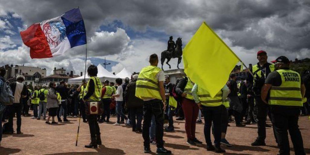 """Des """"gilets jaunes"""" à Lyon, le 11 mai dernier."""