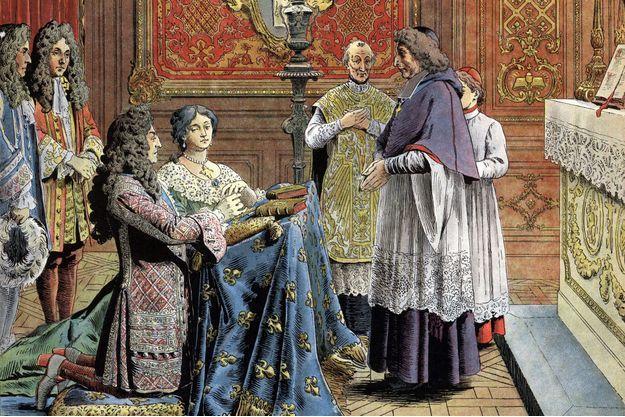 """Le mariage secret de Louis XIV et de Madame de Maintenon au château de Versailles (détail). Chromotypographie de Maurice Leloir, dans """"Le Roy Soleil"""" de Gustave Toudouze, 1904."""