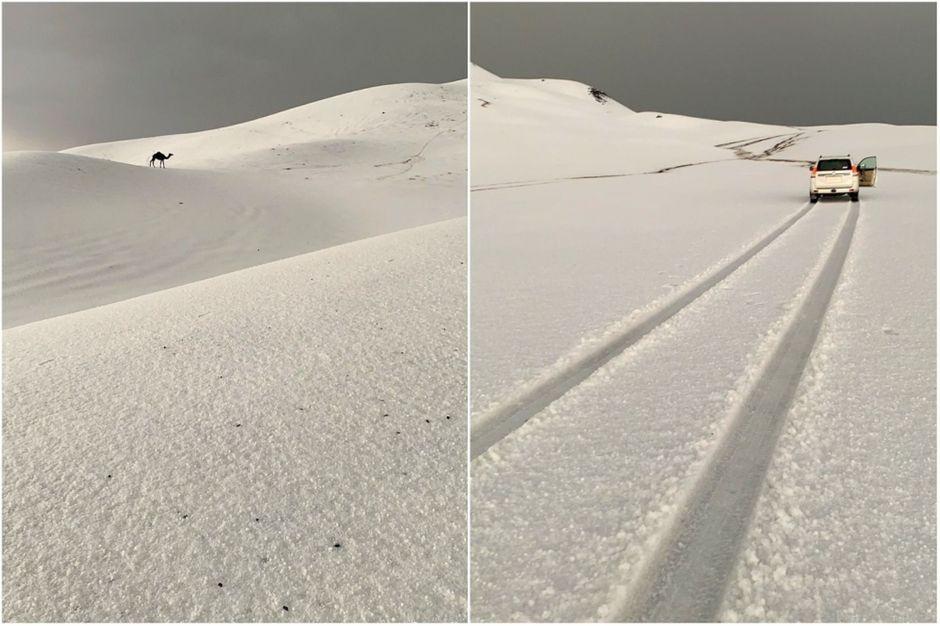 Les impressionnantes images des dunes enneigées en Arabie Saoudite