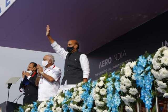 India Tv - Defence Minister Rajnath Singh at Aero India show in Bengaluru