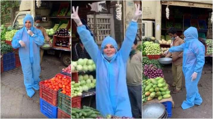 Video of Rakhi Sawant buying vegetables wearing PPE kit goes viral. Seen yet?