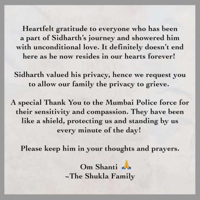 India Tv - Late Sidharth Shukla's family releases statement
