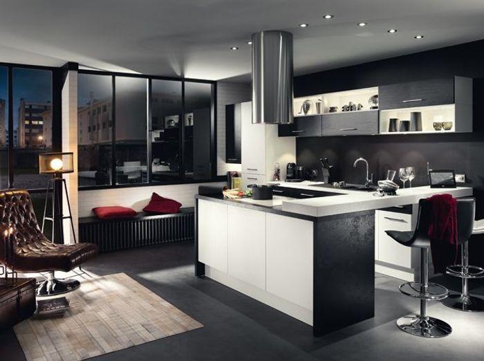 Noir et blanc habillent la cuisine   Elle Dcoration