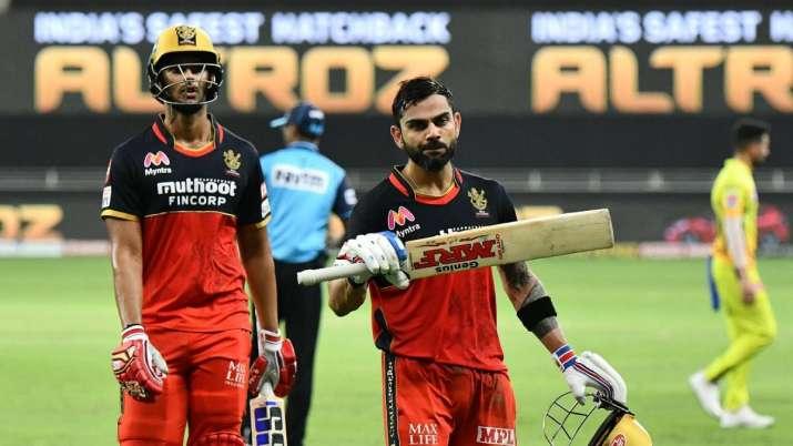 Virat Kohli at the end of RCB's innings in Dubai