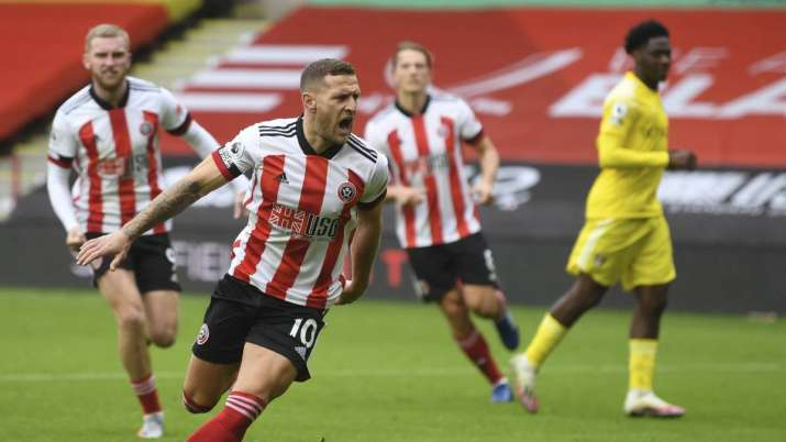 Sheffield United's Billy Sharp celebrates after scoring his