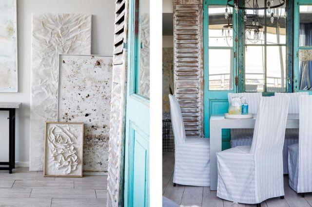 Fotos de un comedor con postigos y puertas antiguas recicladas.
