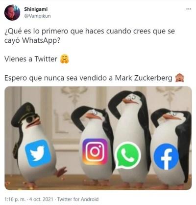 Los internautas halagaron a Twitter por continuar funcionando en medio del colapso de WhatsApp, Facebook e Instagram