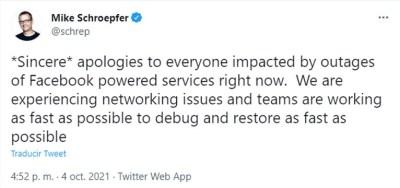 El CTO de Facebook les pidió perdón a los usuarios por la interrupción en el servicio
