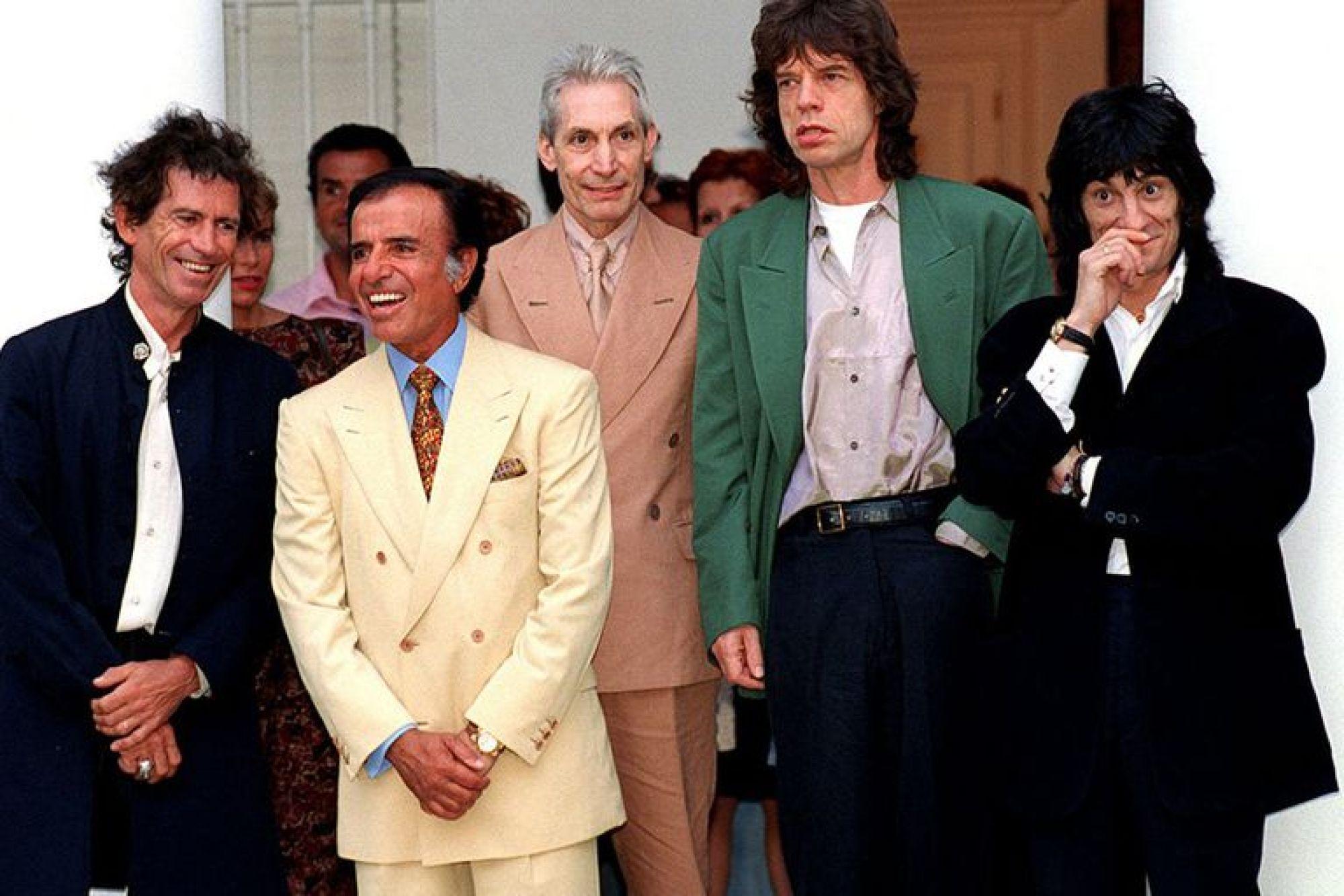 Menem junto a la banda Rolling Stones en la quinta de Olivos, el 10 de febrero de 1995