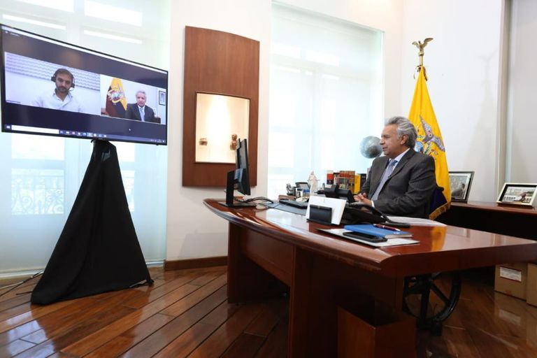 Lenin Moreno, durante la entrevista con LA NACION