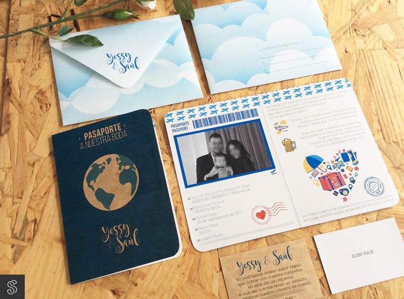 invitaciones de boda pasaporte, con sobre artesano hecho a mano y tarjeta con el número de cuenta