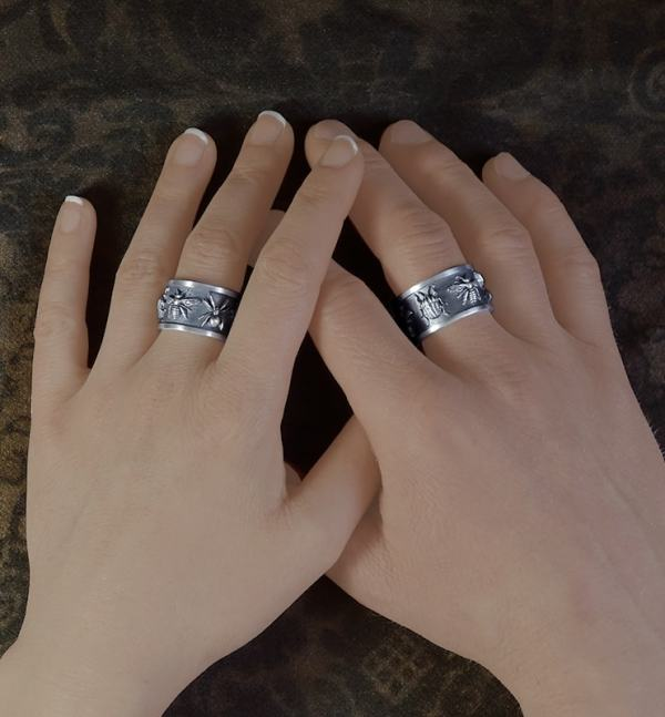 Rings Mixed rings with 5 insects patterns in sterling silver cabinet style | Res Mirum