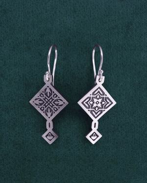 Earrings d'asymmetrical square zellige oriental earrings in sterling silver 925 with hook system | Res Mirum