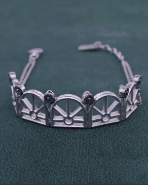 Architectural motif bracelet d'antique orangery on sterling silver chain handcrafted face view | Res Mirum