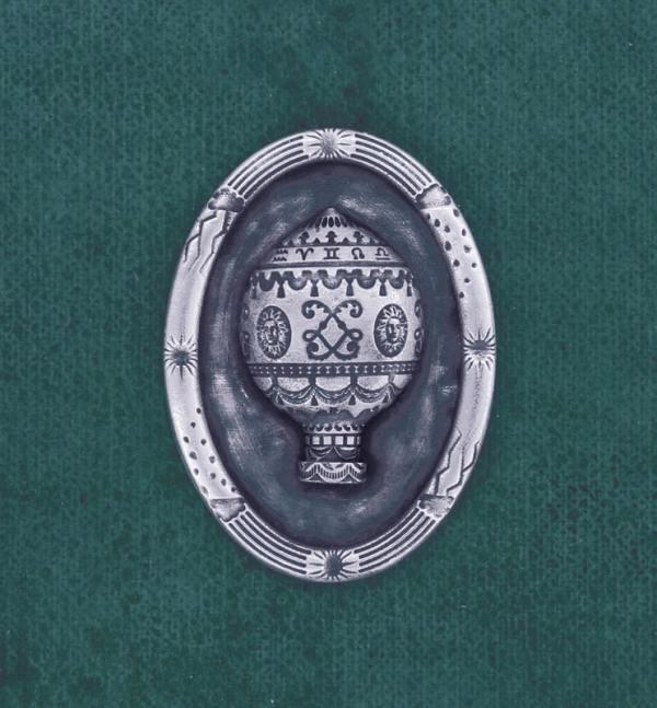 Broche esprit aérostat ancien Louis XVI dans son cadre ovale à motifs de ciel en argent massif fait en France | Res Mirum