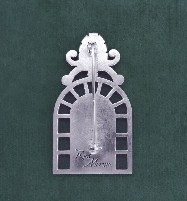 Passivelore brooch in an antique silver 925 greenhouse style frame back view | Res Mirum